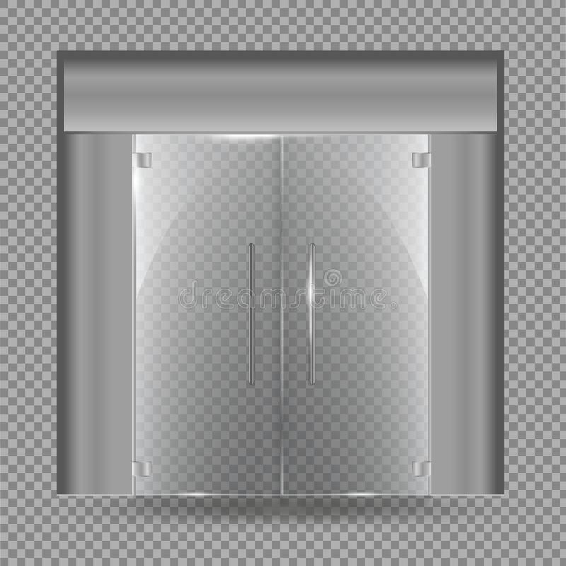 Glass door isolated on transparent background. Vector illustration. Glass door. Transparent Vector vector illustration