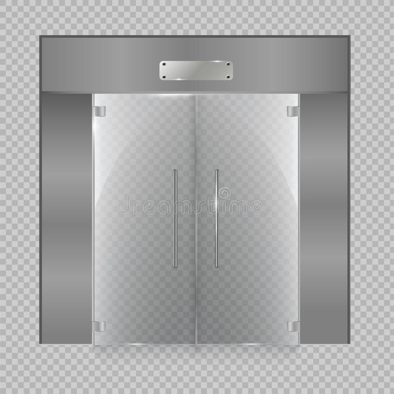 Glass door on the isolated on transparent background. Vector illustration. Glass. Transparent Vector royalty free illustration