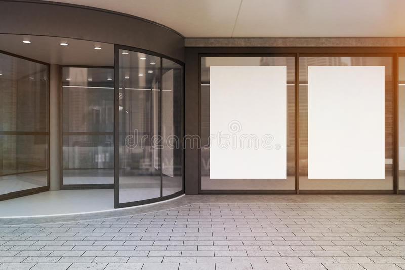 Download Glass Doors Of Corporate Building, Toned Stock Illustration - Image: 83722833