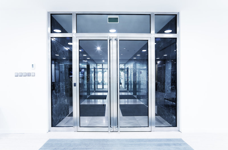 Glass doors in an office stock photos