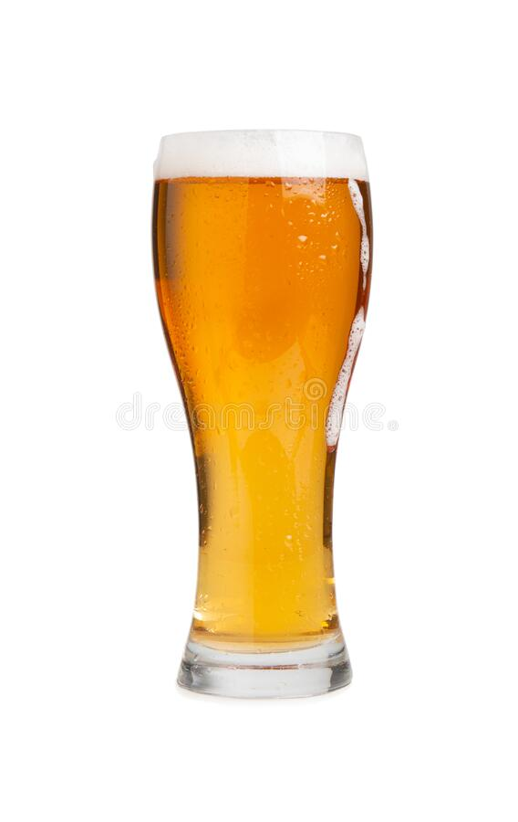 Glass of draft beer isolated on white background. Glass of draft lager beer isolated on a white background royalty free stock image