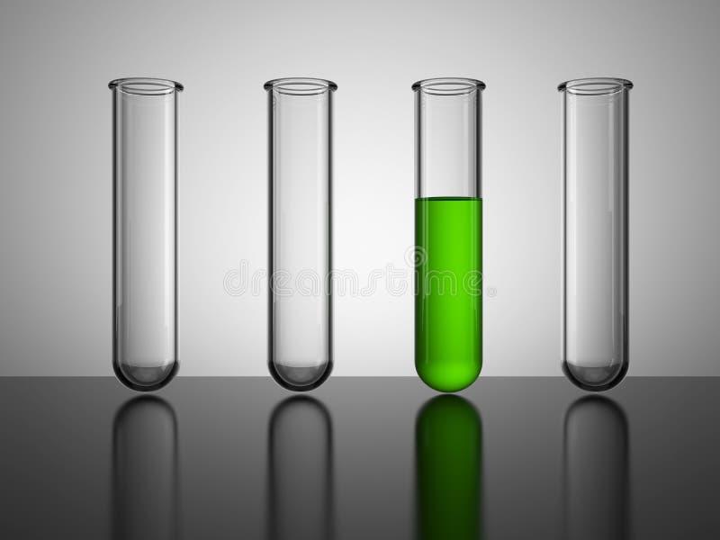 Glass dryckeskärlar. Provrör med grön flytande stock illustrationer