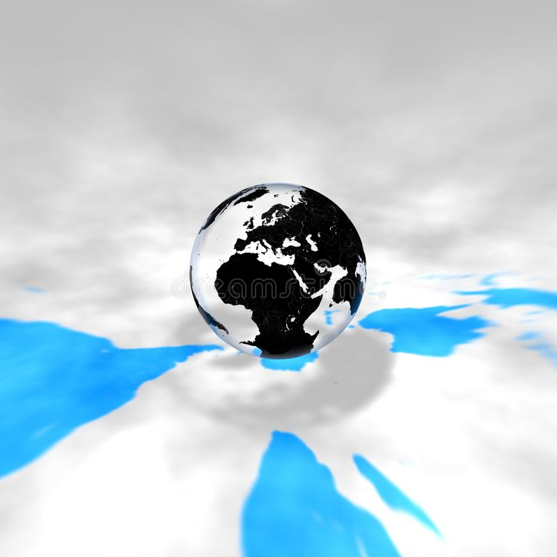 Glass Earth in space stock photo