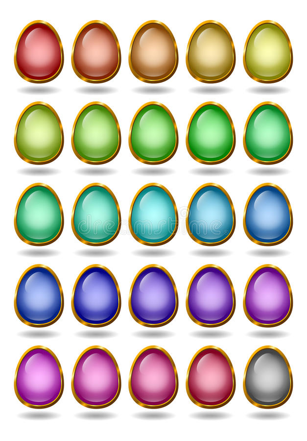 Glass Eggs In Golden Rims Royalty Free Stock Photography