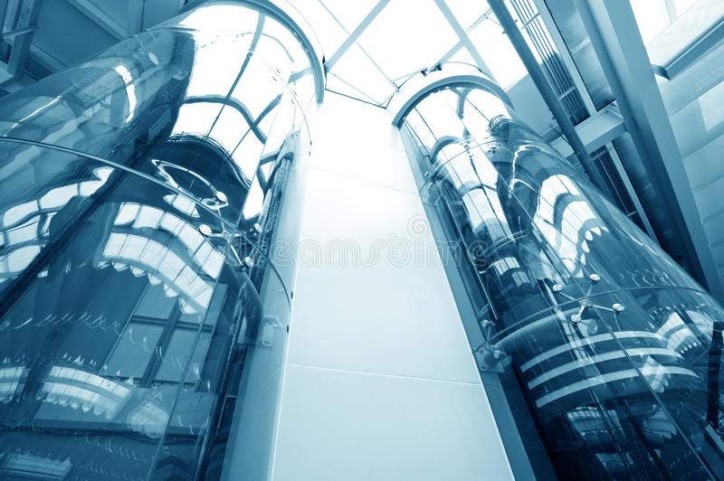 Glass elevator stock image