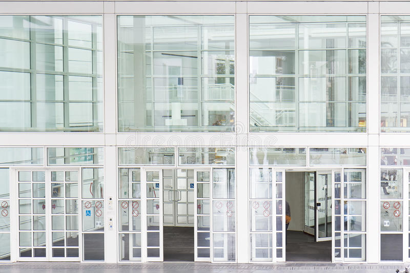 Glass Entrance. Of modern building at The Hague, Netherlands stock image