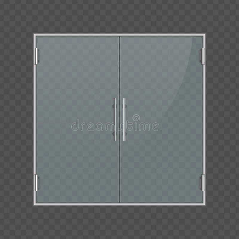 Glass Door And Wall. Isolated On Transparent Background. Entry Double Doors  For Mall, Office, Shop, Store, Boutique. Vector. Stock Vector -  Illustration of isolated, door: 109052834