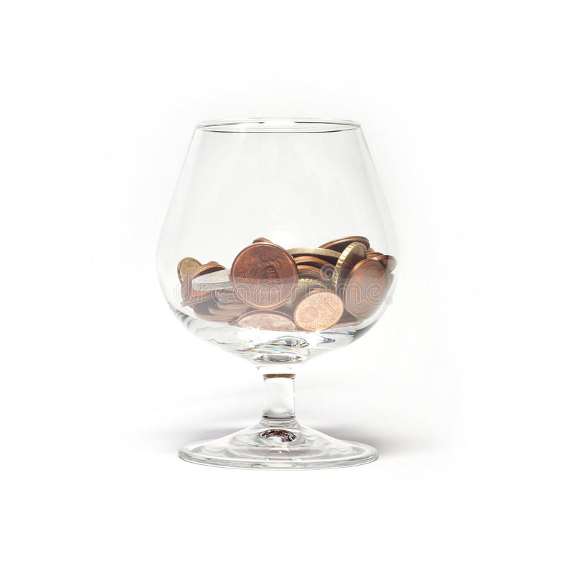 Glass with euro cents