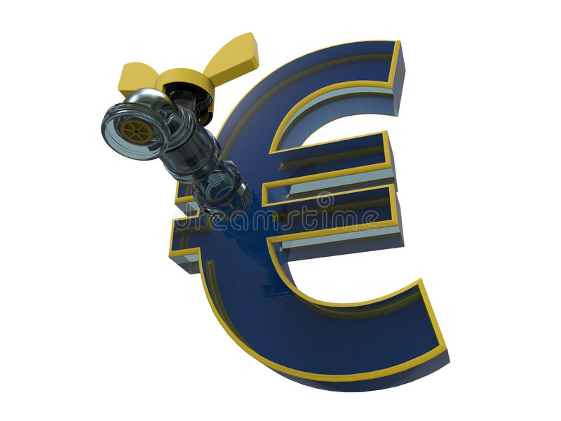 Glass euro symbol with a tap royalty free illustration