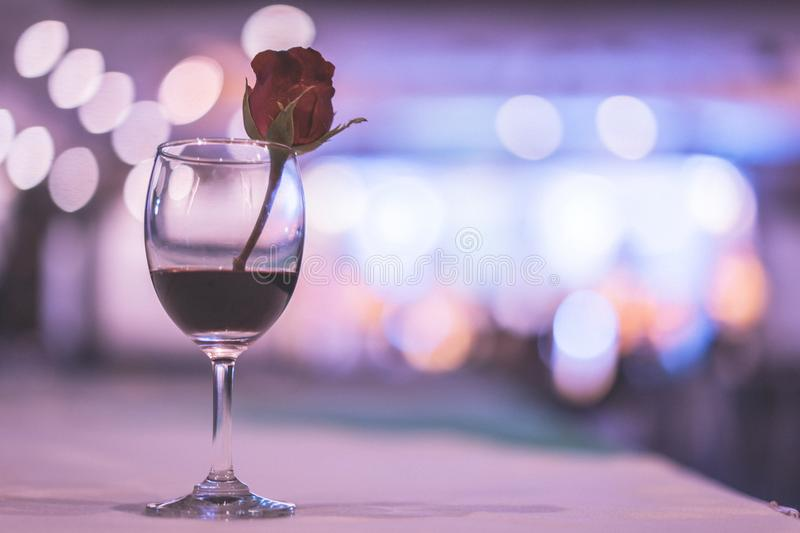 glass of expensive wine at a luxurious dinner. royalty free stock photo