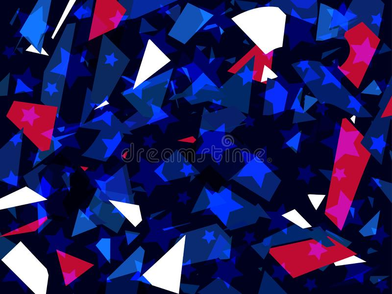 Glass explosion. Broken particles. Scatters of particles red and blue color. Geometric shapes. Vector royalty free illustration