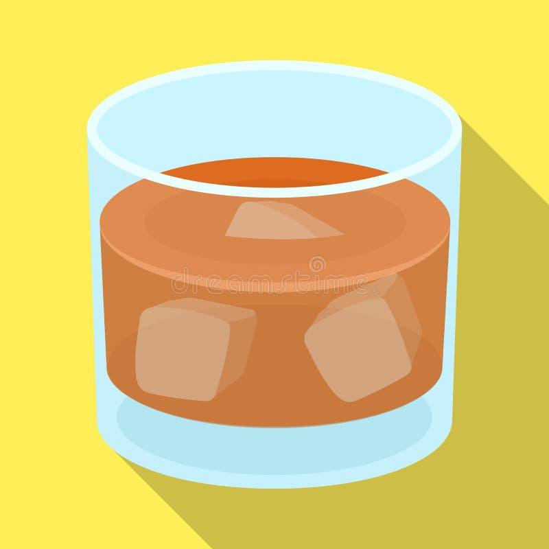 Glass exponeringsglas av whisky med is Alkoholdryck av kriminalaren Detektiv- enkel symbol i plant stilvektorsymbol vektor illustrationer