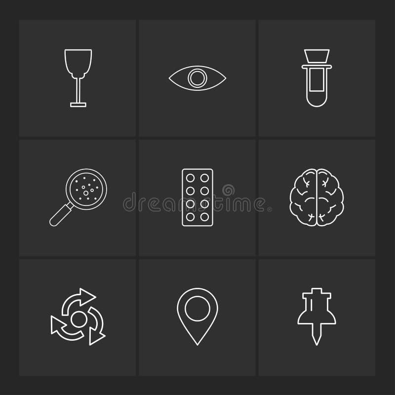 Glass , eye , beaker, search , bacteria , tablets , brain , navigation , pin, eps icons set vector. Glass , eye , beaker, search , bacteria , tablets , brain stock illustration