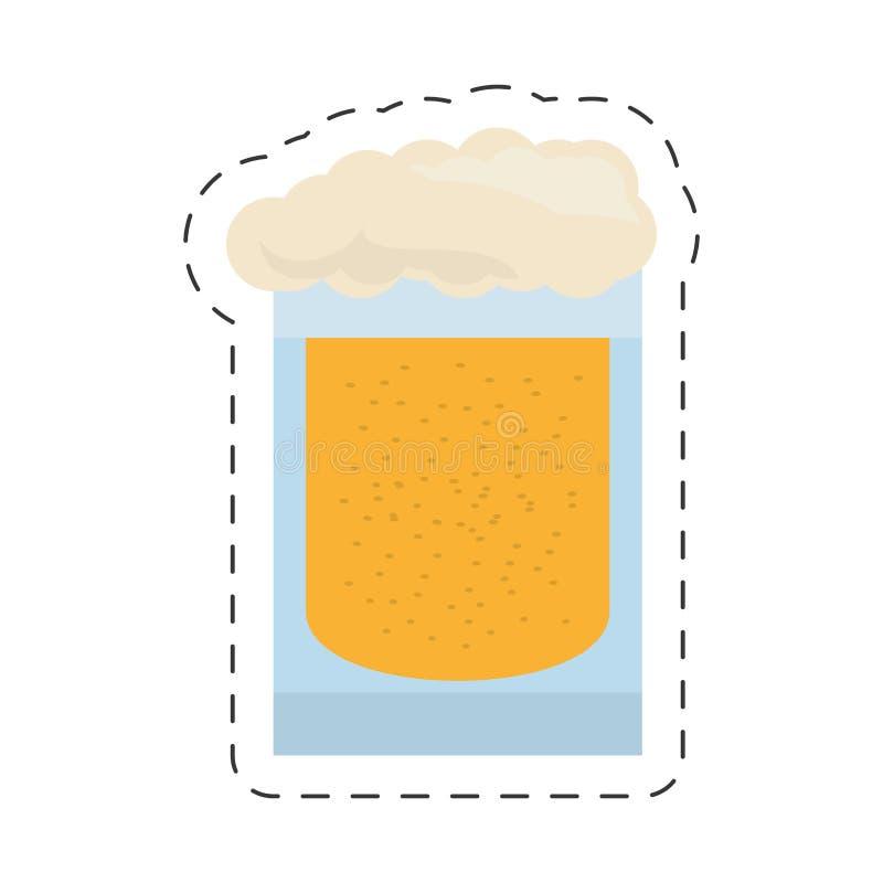 glass för bildsnitt för kallt öl linje vektor illustrationer