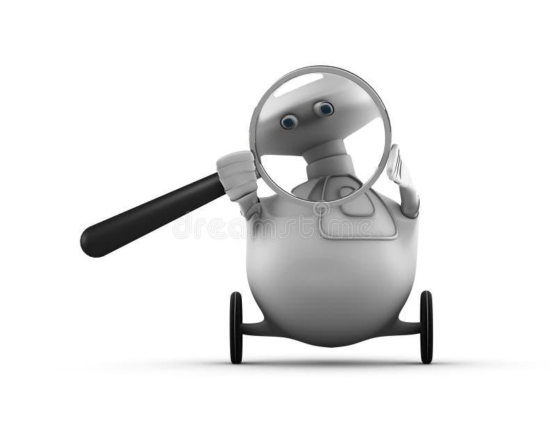 glass förstorande robot vektor illustrationer