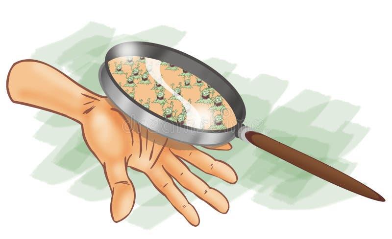glass förstoring för bakterier under stock illustrationer
