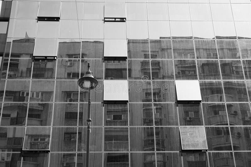 Glass facade black white royalty free stock photos