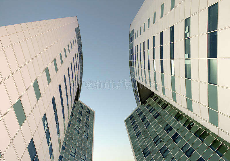 The glass facade of a skyscraper royalty free stock photography