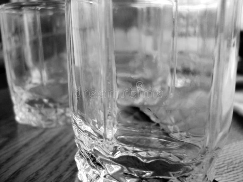 Glass faceted glass. Close up. Black and white photo stock photos