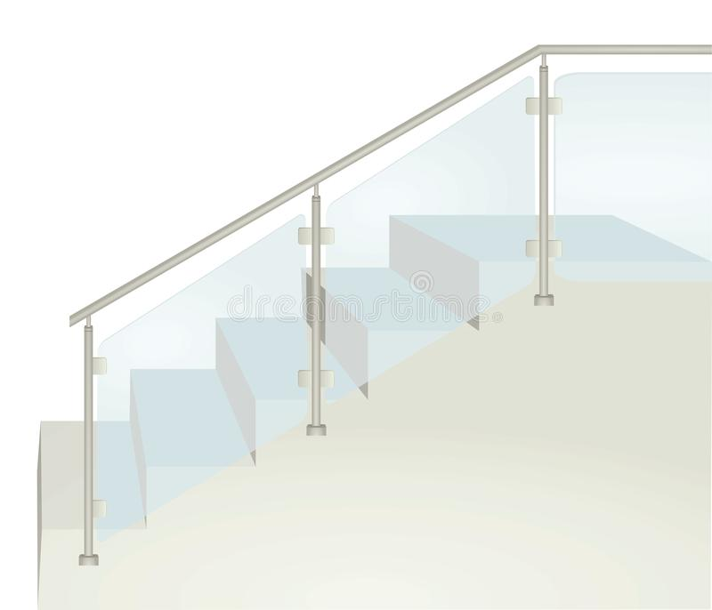 Glass fence on stairs royalty free illustration