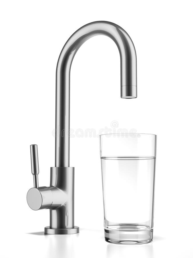 Glass filled with drinking water from tap stock illustration
