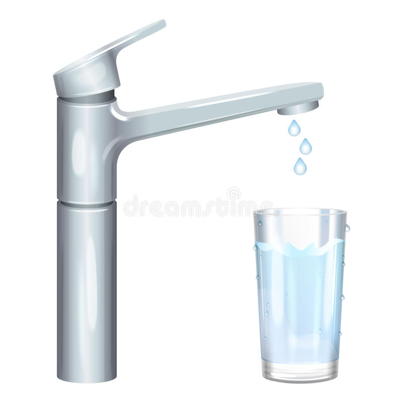 Glass filled with drinking water from tap. Pure water. Vector royalty free illustration
