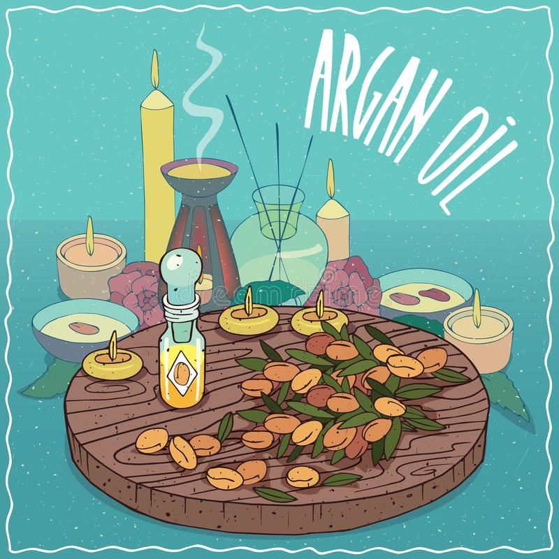 Argan oil used for aromatherapy royalty free illustration