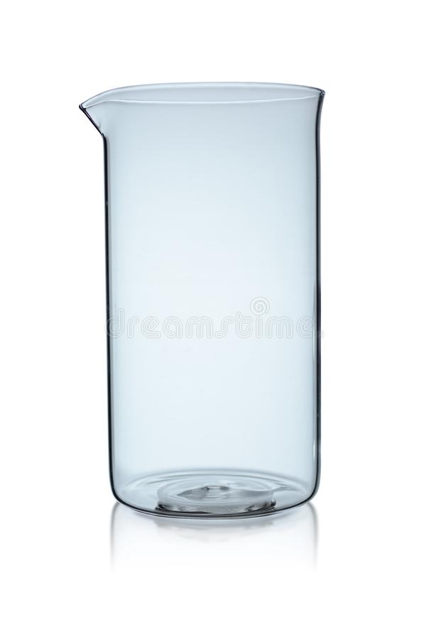Glass flask for the French press. Isolated on a white background with reflection royalty free stock photography