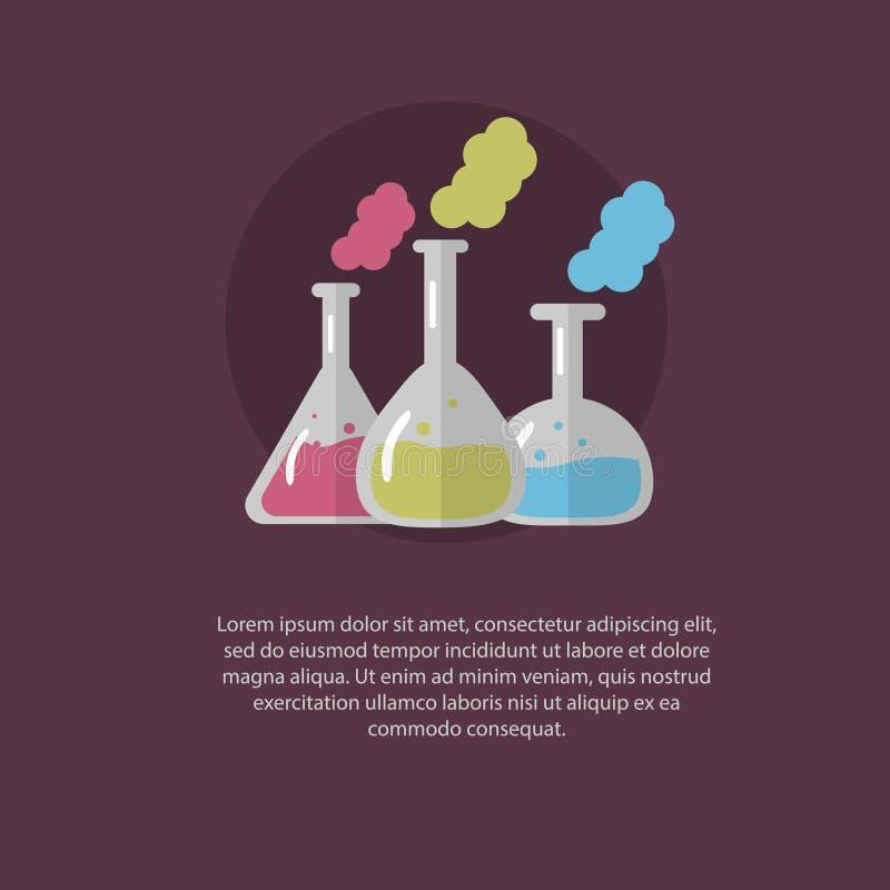 Glass flaskor för laboratorium med färgflytande inom på en purpurfärgad bakgrund också vektor för coreldrawillustration royaltyfri illustrationer
