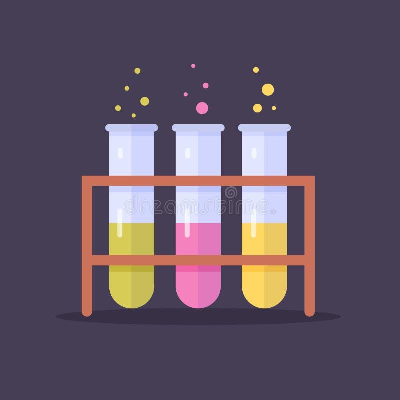 Glass flaskor och provrör för laboratorium med kulör flytande Experiment i kurser av kemi och biologi äpplet books begreppsutbild royaltyfri illustrationer