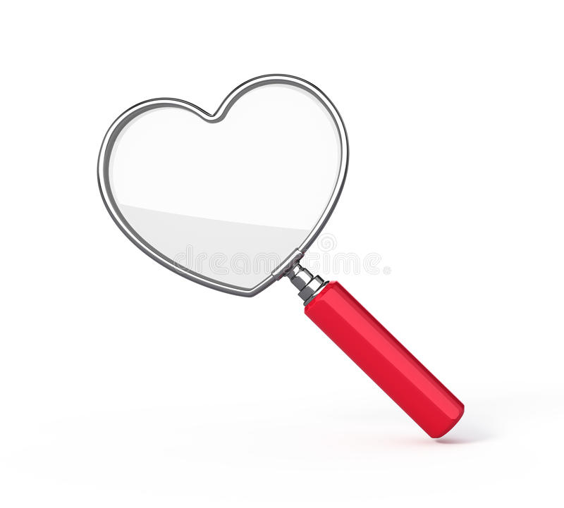 glass formad hjärtaförstoring royaltyfri illustrationer