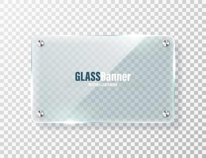 Glass frame with metal holder. Realistic transparent glass banner with glare. Mockup design element. Vector illustration vector illustration