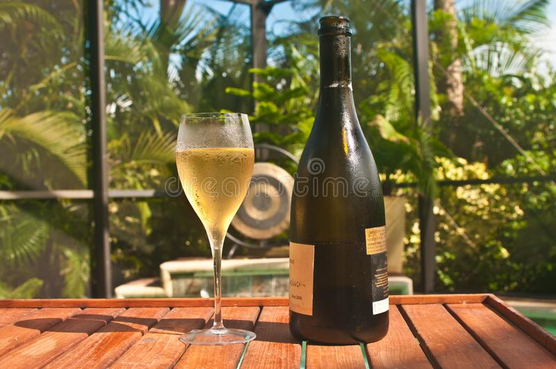 Glass of French champaign, in fluted glass, with a champign bottle stock photos