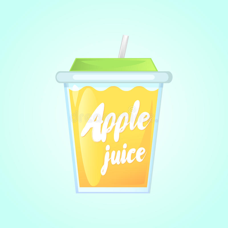 A glass of fresh apple juice in a glass bowl with a straw. stock photo