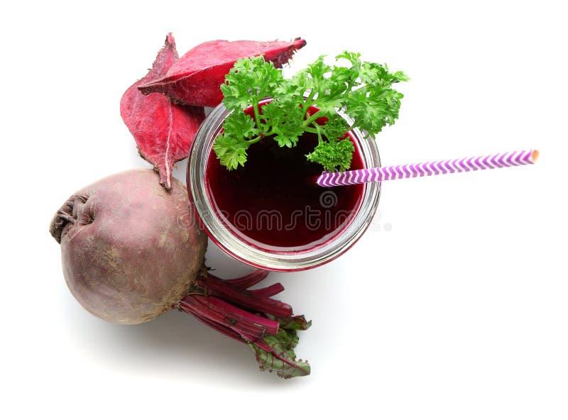Glass of fresh beet juice royalty free stock photo