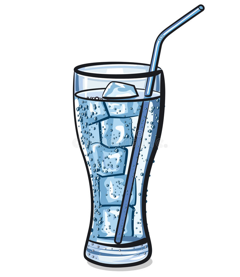 Glass of fresh cool water with ice vector illustration