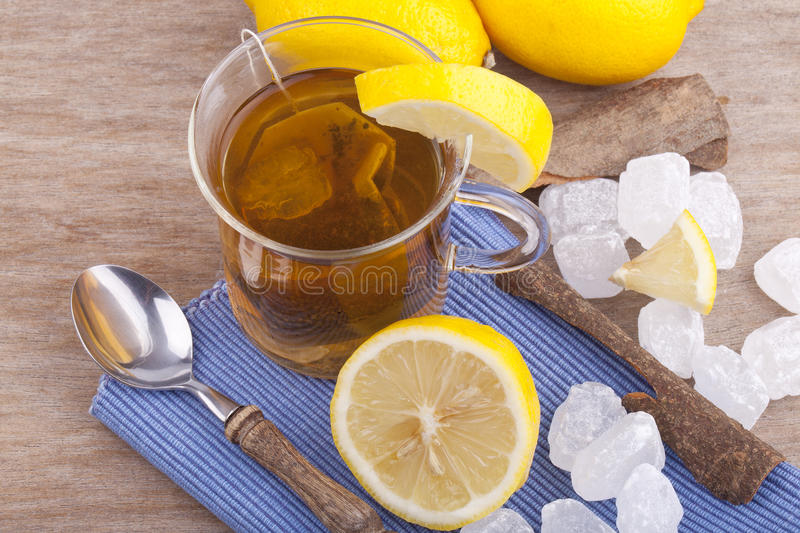 Glass With Fresh Hot Lemon Tea Stock Images
