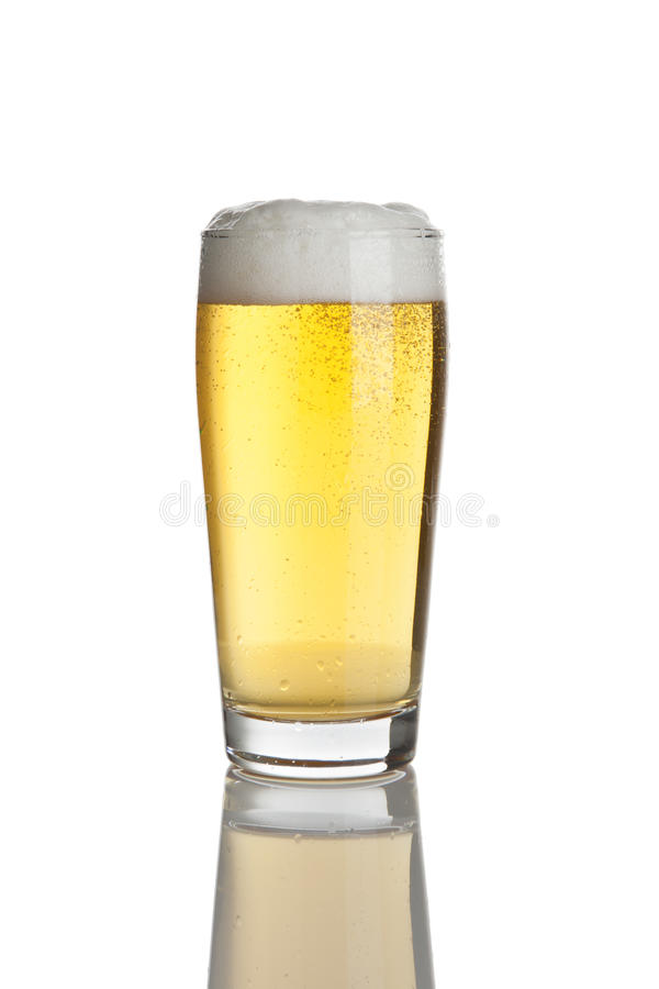 Glass of fresh lager beer stock photo
