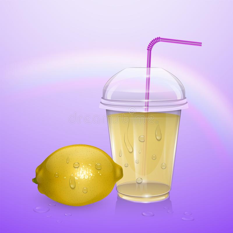 Glass of fresh lemonade of realistic style, vector illustration stock illustration