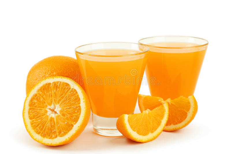 Glass of fresh orange juice isolated on white. Glass of fresh orange juice isolated on white royalty free stock photos
