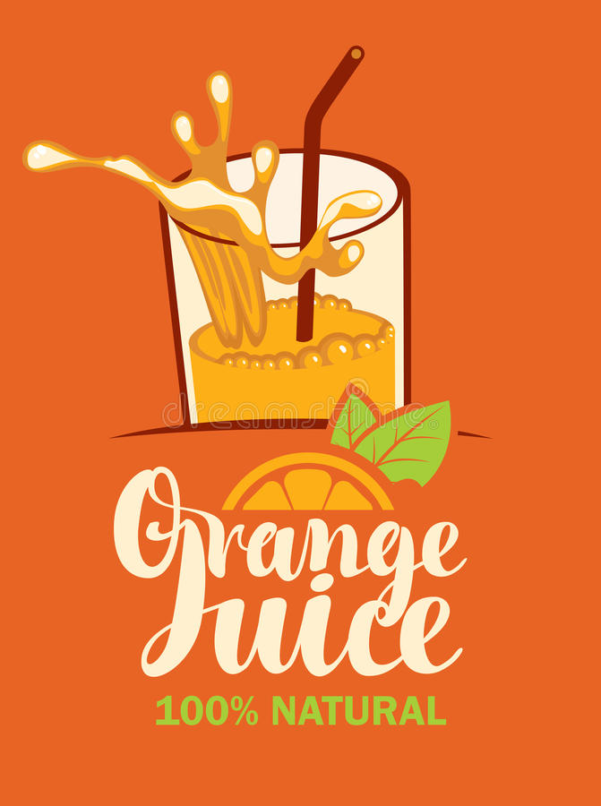 Glass of fresh orange juice. Vector banner with a glass of fresh orange juice royalty free illustration
