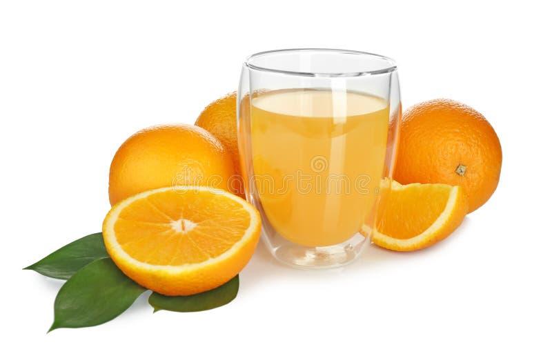 Glass of fresh orange juice. On white background stock image