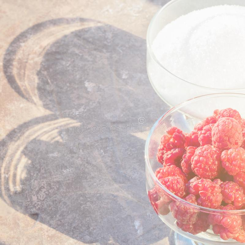 Glass of fresh raspberries and white sugar gardening gastronomy. Harvest summer evening sunset light Concept home made ingredient recipe for cooking jam and stock images