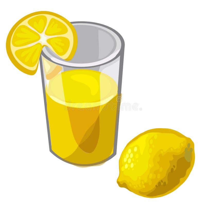 Glass of freshly squeezed lemon juice and fruit royalty free illustration