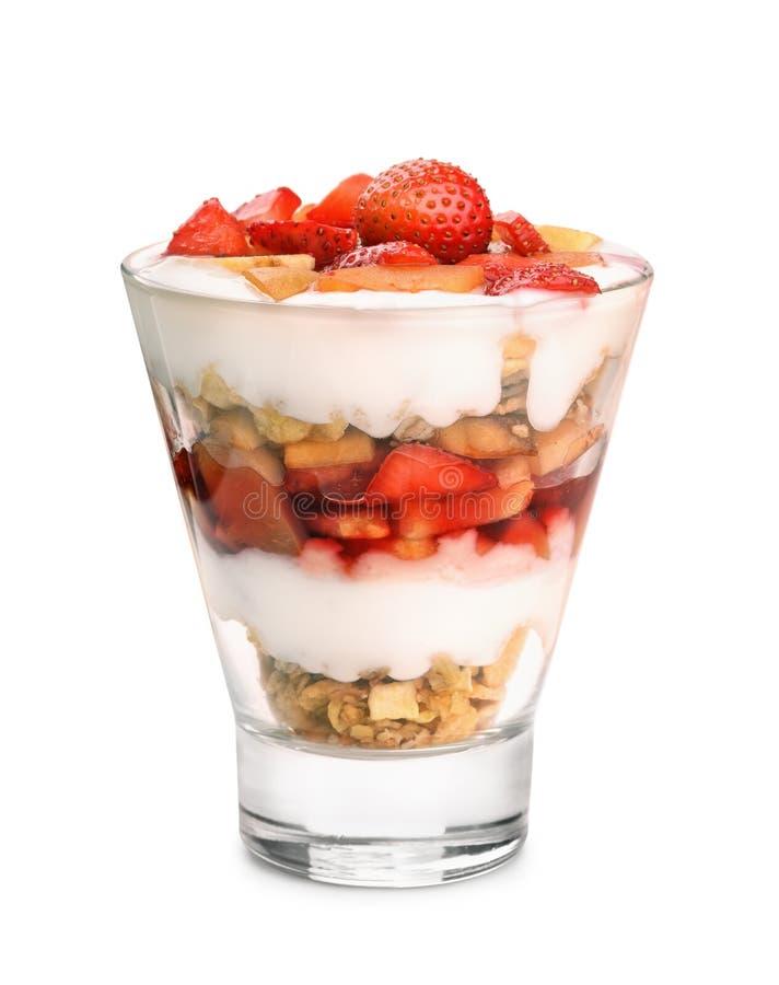 Glass of fruit and yogurt parfait. Isolated on white stock images