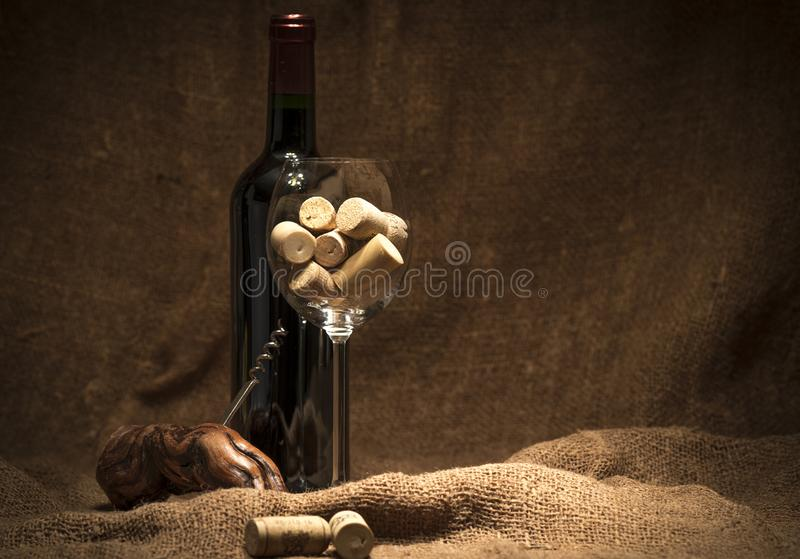 Glass full of corks royalty free stock photography