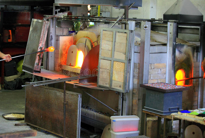 Glass furnace stock photo