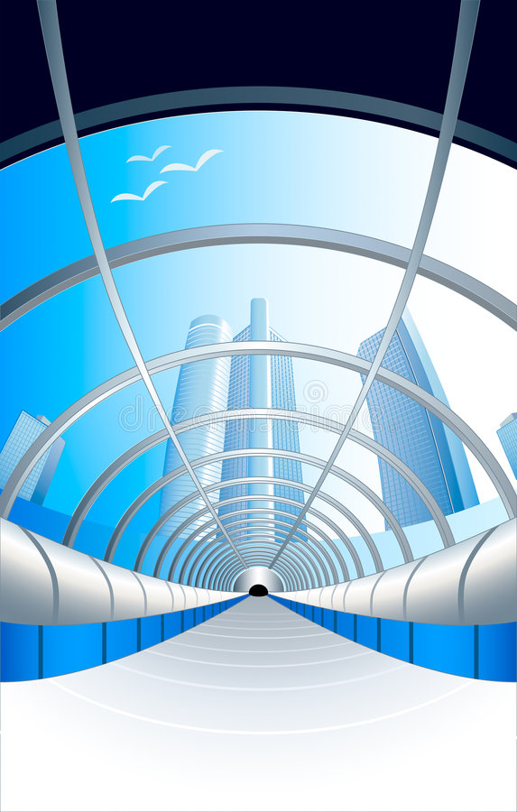Glass futuristic tunnel vector illustration