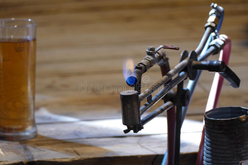 Glass gas blower. For final glass prepare royalty free stock image