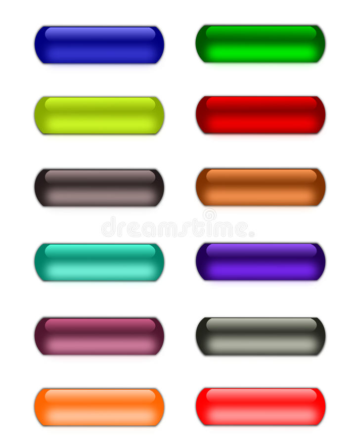 Glass or gel buttons. Colorful web buttons royalty free illustration